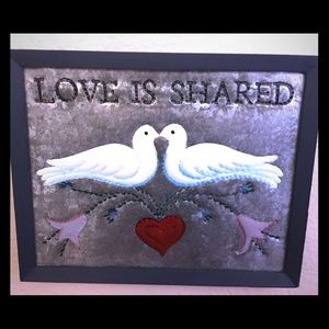 Love Is Shared Galvanized Metal 3D Sign in Wood